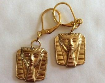 Tutankhamen Egyptian Pharaoh handmade raw brass earrings for pierced ears nickel free