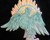 Ceramic Fantasy Flaming  Phoenix wall hanging for home or garden