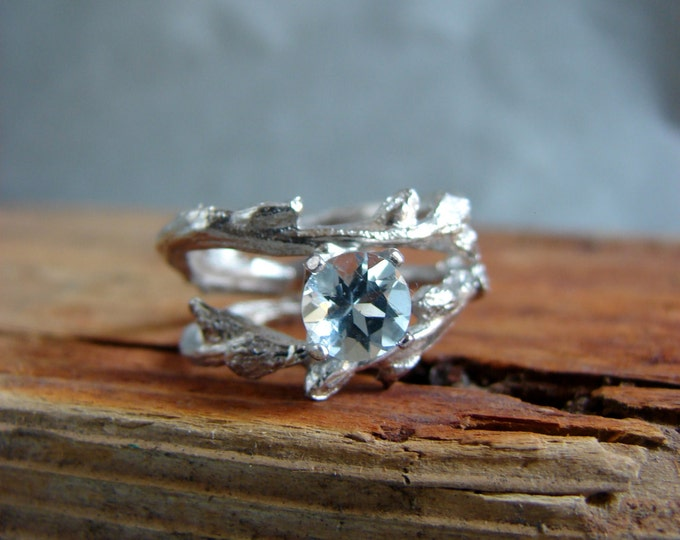 Aquamarine  Engagement Ring Twisted Twig  Ring Organic Jewelry March Birthstone Luxury Gifts for her