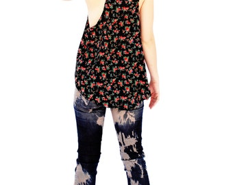 Agoraphobix rose flower print oversize racer back tank | tank top | 90s shirt