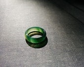 Forest light - dreamy green agate stone ring Size 7.5 Spiritual, zen, yoga band ring