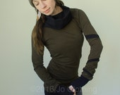 cowl tunic dress with extra long sleeves/Dark Olive with Black/Spiraling striped sleeve