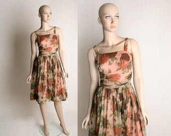 Vintage 1960s Rose Dress - Sheer Chiffon Peach Floral Print Party Dress - Small