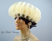 Jack McConnell Wedding Hat ~ Vintage Ivory Tulle Waves ~ Matching Earrings