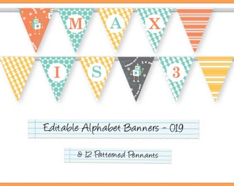 Editable Printable Banner Pennants Alphabet Garland For Parties/Celebrations, Happy Birthday Banner, Welcome Home AB-019-EP