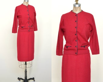 Vintage Red Wool Suit --- 1960s Sweater Skirt Set