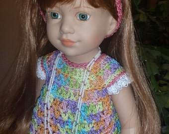 Crochet Set for Tonner Magic Attic 18 inch Doll Top Headband Double strand Necklace Rainbow Pink Lavender Purple Turg