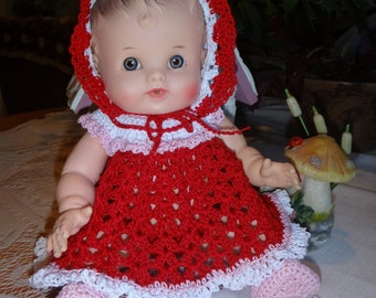 Crochet outfit for 9.5 or 10 inch 50's  Sun Rubber S0 WEE Baby Doll  Dress Bonnet Pink Red White