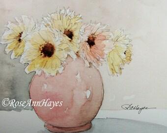 Watercolor Painting of Pastel Strawflowers Print Flowers Floral Bouquet Garden Wildflowers