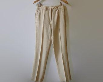 Beige Linen Pants, Womens Trousers, 90s Clothes, Vintage Clothing, Beige Womens Clothes, Summer Wear, Linen Trousers, Size US 10 Women