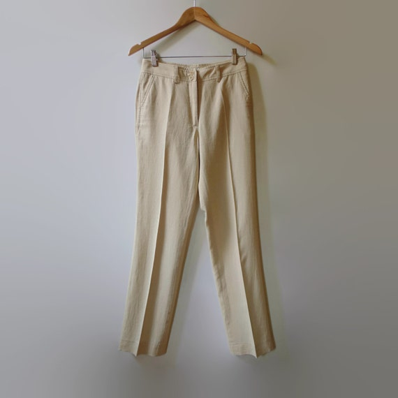 beige linen womens clothing vintage trousers 90s