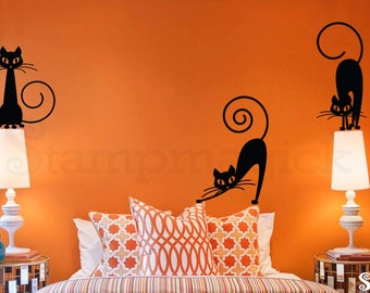 Black Cats Wall Decal   Cat Decal   Cat Decor   Cat Stickers   Kitty Decal Part 49