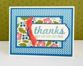 Stamped Thank You Card - Thank You Note - Thanks Very Much Card - Hand Made Stampin' Up! Thank You Card - Blue Floral