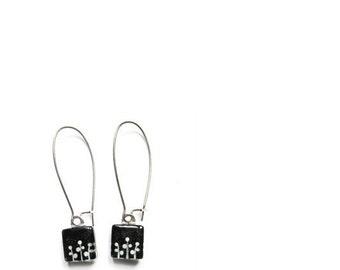 Black dangle earrings   foliage   hand painted glass by azurine