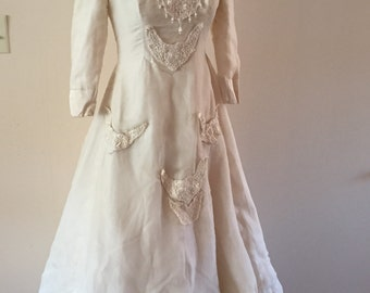 Tattered Wedding Dress Ivory Silk Dystopian Dress  xs/s