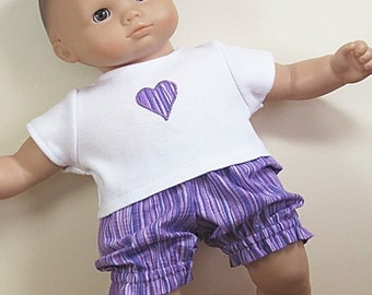 Bitty or Twin Doll Clothes -Shades of Purple Striped Bloomers with Appliqued Tee