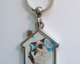 SIAMESE CAT ANGEL Keyring/handbag charm with print from original painting by Suzanne Le Good