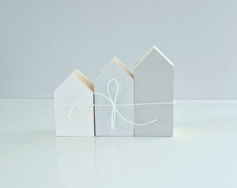 AMSTERDAM wooden house decoration 3-pack