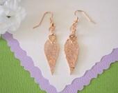 Evergreen Leaf Earrings Rose Gold, Evergreen Leaf, Small Size Earrings, 24kt Rose Gold Earrings, LESM111
