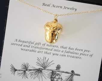 Gold Acorn Necklace, Gold, Real Acorn, Small Gold Acorn, Acorns, Christmas Card, Christmas Gift, Winter Wedding, AC11