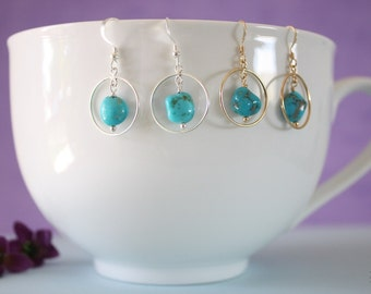 Turquoise Small Hoop Earrings Sterling Silver, Gold hoops, Small Silver Hoops, Dangle Earrings, Sleeping Beauty Turquoise