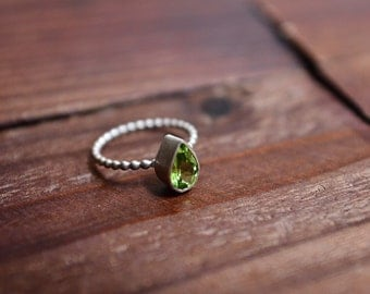 Peridot Teardrop Bezel Ring - Sterling Silver Ring - Handcrafted Olive Green Gemstone Ring - Stackable Ring - Size 5 Ring