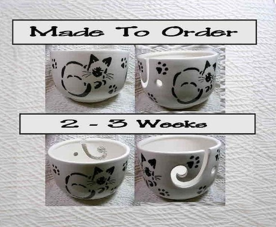 Siamese stencil cats on yarn bowl handmade original earthenware clay