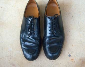 COLE HAAN black leather oxfords / vintage mens dress shoes / formal wedding mens shoes 11 D