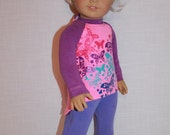 18 inch doll clothes, 2 piece set! butterfly print high low long sleeve shirt, lilac leggings,