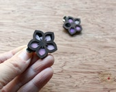 Starr Flower Mini Hair Clips - Laser Cut Walnut Wood and Vintage Kimono Clips