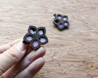 Starr Flower Mini Hair Clips - Laser Cut Walnut Wood and Vintage Kimono Clips