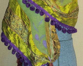 Gypsy Fringe Sari Scarf Shawl Gold Purple