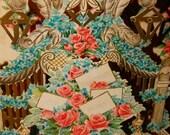 Vintage Hallmark  3  Dimensional Valentines Greeting, Victorian Greeting Valentine Card, Victorian Die Cuts, Made in USA, Flower Garden