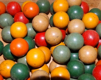 Wooden Marbles, Wooden Balls, Beads, Folk Primitive Colorful wood balls, Game Pieces, Home Decor, Bingo Balls,