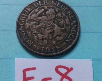 Coin 1 Cent Kingdom of the Netherlands 1918 Koningrijk Der  Nederlanden  Holland Dutch Lion WWI coin collection numismatic collector F-18