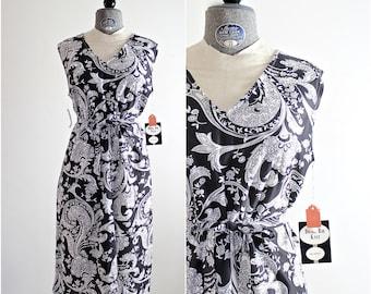 Vintage XL Dress • 1960s Dress • Shift Dress • Plus Size Dress • 60s XL Dress • 1960s Day Dress • Paisley Dress • Black and White Dress