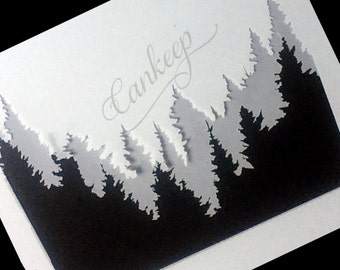 "Woodland Mountains -Stencil  - 6""x6""   Stencils by cankeep"