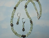 RARE Libyan Desert Glass Tektite Impact Glass And Campo Del Cielo Meteorite Necklace And Earring Set RARE