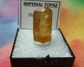Sale IMPERIAL TOPAZ Natural Terminated Gemstone Crystal In Perky Specimen Box From Brazil