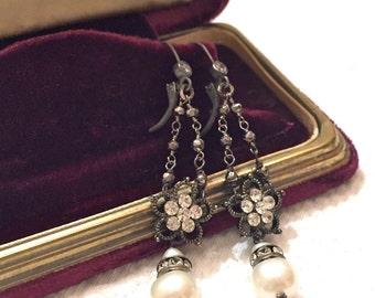 Vintage Assemblage Rhinestone Flower Earrings