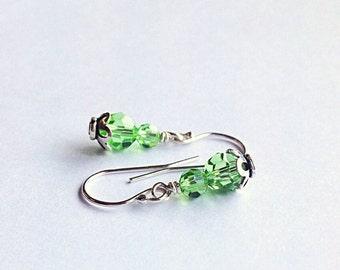August birthstone earrings - Peridot earrings - green earrings -peridot  green - August birthstone jewelry - birthday gift - 3rd anniversary