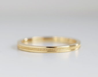 Flat Milgrain 2mm Gold Wedding Band | Recycled Yellow White Rose Gold | Eco friendly | Flat Edge Men's Women's 14k 18k gold band