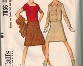 1965 McCalls 7936 André Courrèges Styled Skirt Suit Sewing Pattern Vintage Size 14 Mod Double Breasted Jacket