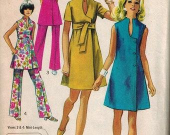 1969 Simplicity Retro Mod Mini Dress Sewing Pattern Vintage 8278 Size 12 Unique neckline and side button front