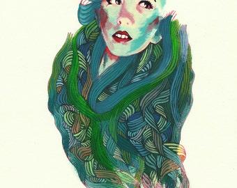 """Portrait Art Print - """"Mane"""" - Decorative Pattern Painting - Colorful Woman's Portrait Art"""