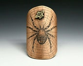 Spider, bicycle badge, bicycle accessories, bike badge, bike accessories, head badge, spider art, insect art, spider web, etched copper