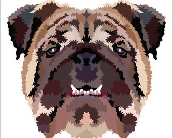 Bulldog. Cross Stitch pattern, Digital Download PDF. Geometric design of a English bulldog with patches of color. Modern in design