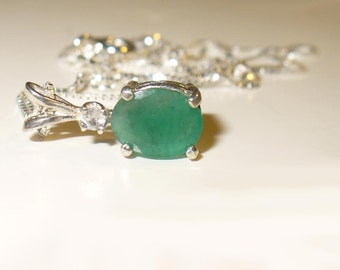 Emerald Pendant Necklace in Solid Sterling Silver - Genuine, Natural Gemstone