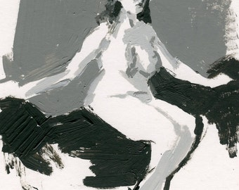 Original Acrylic Gesture Sketch Life Drawing of Sitting Female Nude Figure - Seated