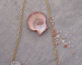 Coral ceramic white bib necklace. Beach, barnacle, artisan made, Solid brass matte gold chain, magnetic closure.